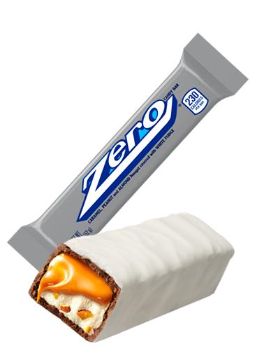 Barrita de Chocolate Blanco, Nugat, Caramelo, Cacahuetes y Almendras | Zero