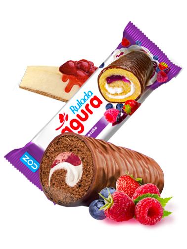 Cake Roll de Chocolate, Crema y Mermelada Frutas del Bosque 35 grs