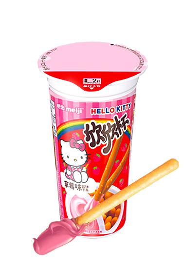 Meiji Sticks Cup Cream Ichigo | Hello Kitty