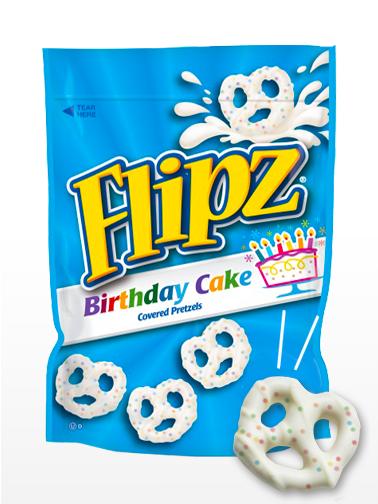 Pretzels recubiertos de Crema de Tarta de Cumpleaños | Flipz 141 grs