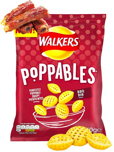 Snack Walkers Poppables de Costillas Barbacoa 110 grs