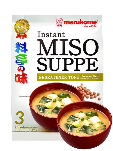 Sopa Instantánea de Miso Marukome y Tofu Frito Wakame | 3 Raciones