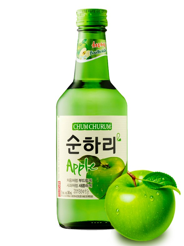 Licor Coreano Soju Chum Churum Sabor Manzana Verde 360 ml