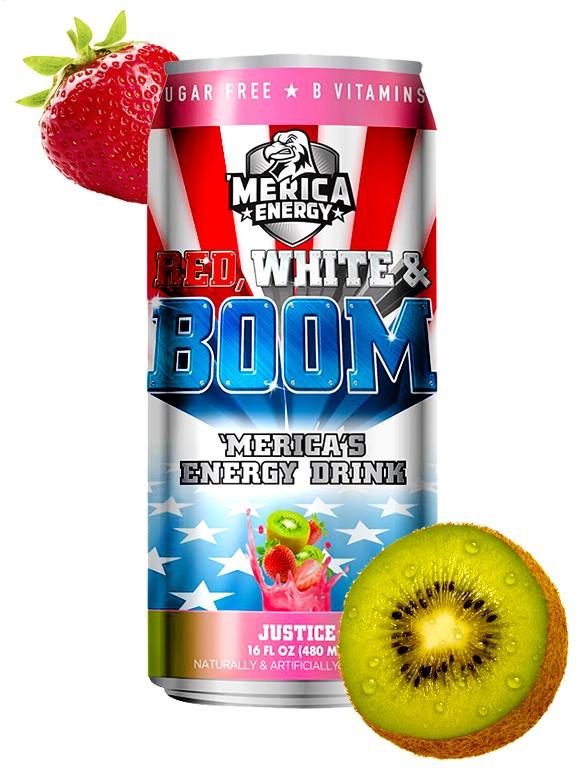 Bebida Energética Red, White & Boom   Justice   Sabor Kiwi Fresa 480 ml