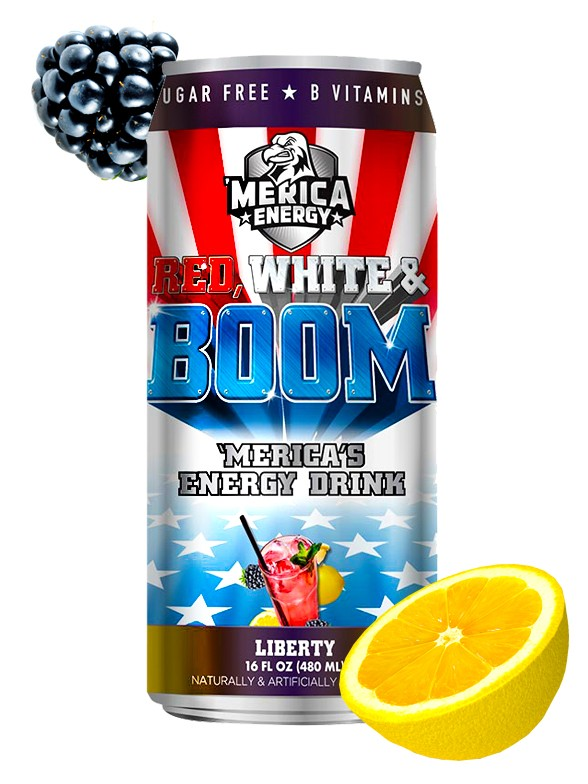 Bebida Energética Red, White & Boom Liberty  | Sabor Refresco Mora Limón 480 ml