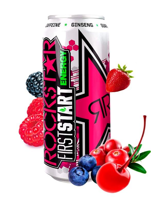 Bebida Energética Rockstar de Frutas del Bosque | First Start 500 ml