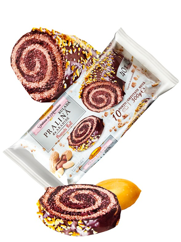 Cake Roll de Doble Chocolate Praline y Toppings de Cacahuete 300 grs