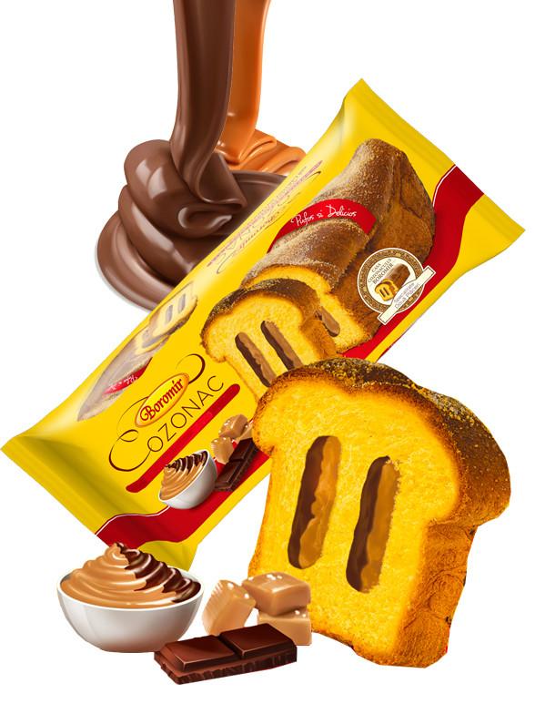 Bizcocho relleno de Doble Crema Chocolate Caramelo 450 grs