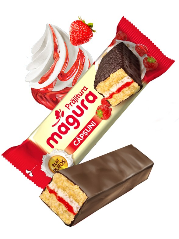 Pastelito de Chocolate con Crema de Yogur y Mermelada de Fresas 32 grs