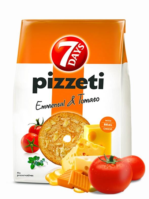 Chips de Pan Tostado con Sabor a Emmental y Pomodoro 80 grs