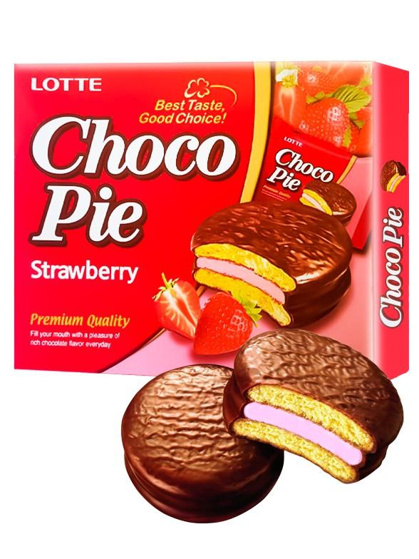 Choco Pie Coreano relleno de Crema de Fresa   12 Uds.