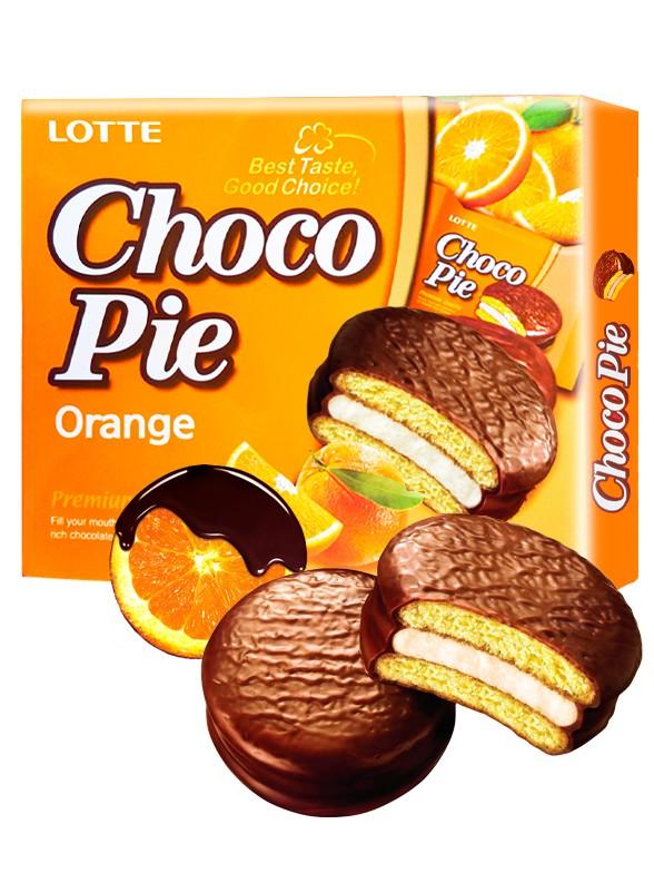 Choco Pie Coreano relleno de Crema de Naranja   12 Uds