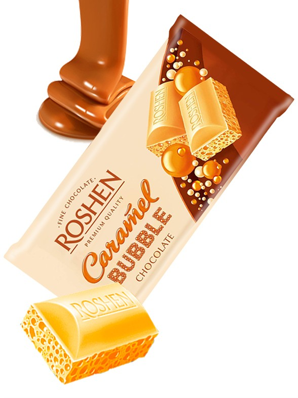 Chocolate Roshen relleno de Mousse de Chocolate Blanco y Caramelo 80 grs