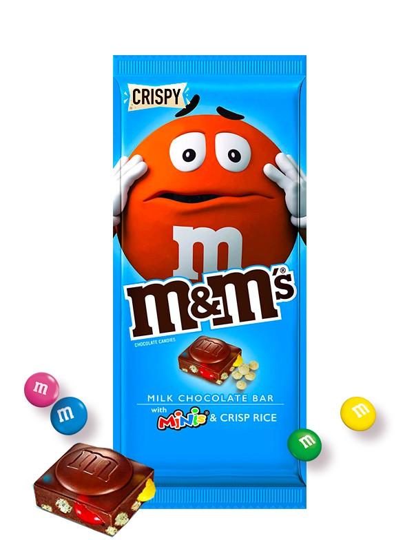 Tableta de Chocolate con Corazón M&M's y Toppings Crujientes 150 grs