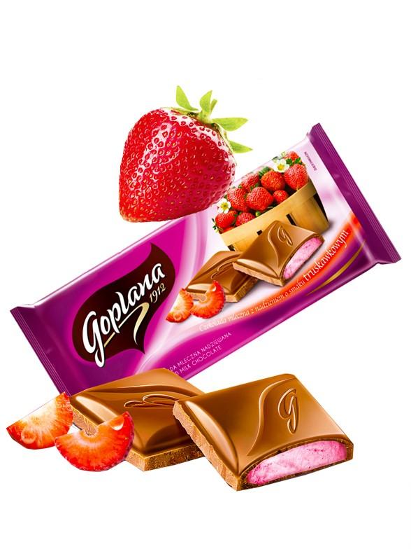 Chocolate Goplana con Leche relleno de Crema de Fresa 88 grs