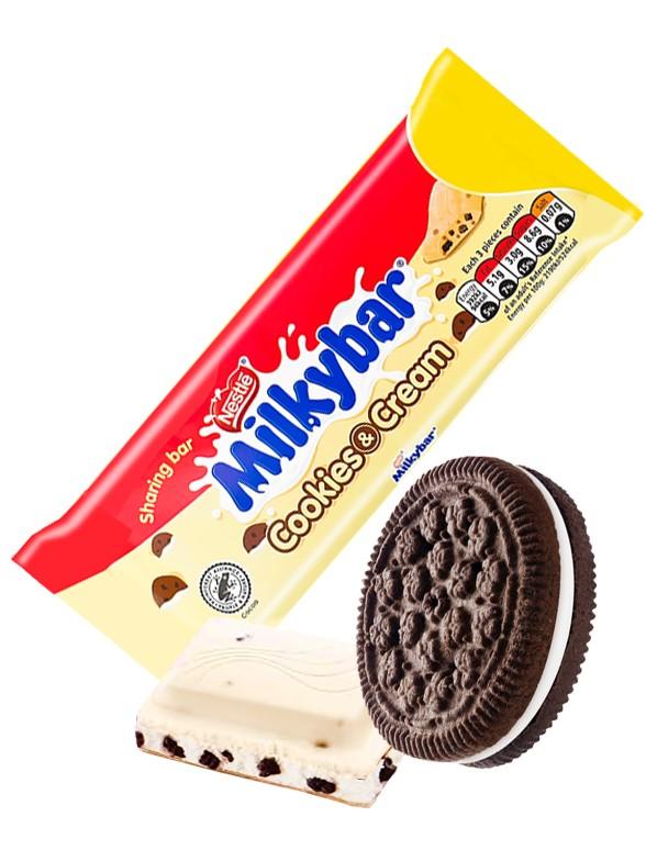 Chocolate Blanco Milkybar con Cookies & Cream 90 grs
