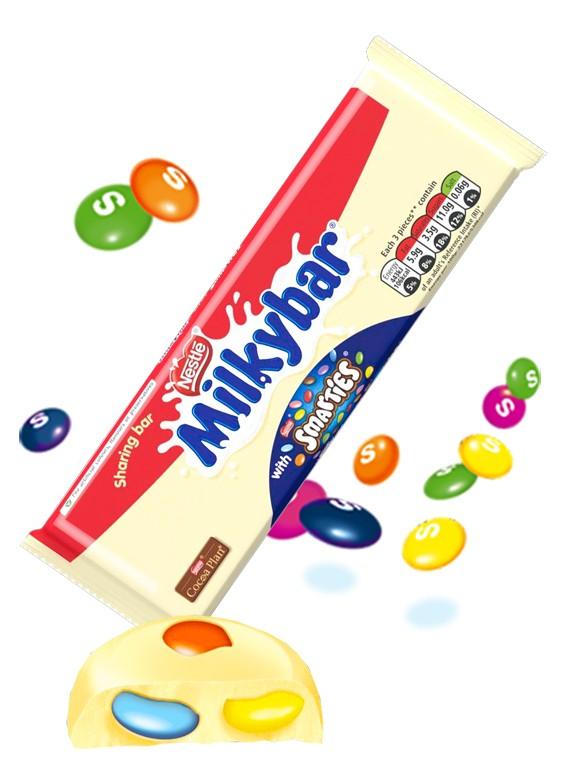 Chocolate Blanco Milkybar con Mini Smarties.