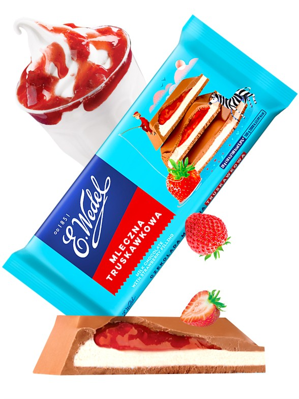 Chocolate de Fresas con Nata   Wedel Lotte 100 grs
