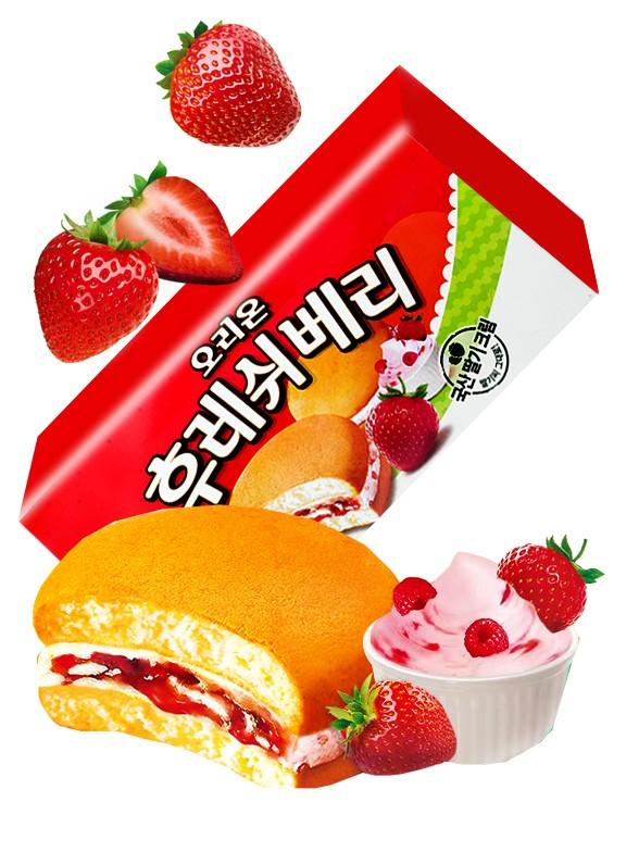 Choco Pie con Crema de Fresas y Frambuesas   Receta Coreana 168 grs.