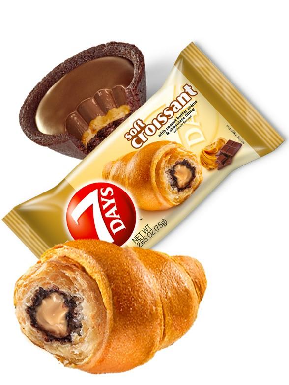 Cruasán de Crema de Cacahuete y Chocolate 75 grs