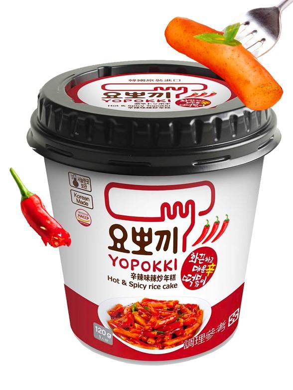 Yopokki | Mochis Coreanos Topokki Instantáneos con Salsa Hot & Spicy 120 grs. | Pedido GRATIS!