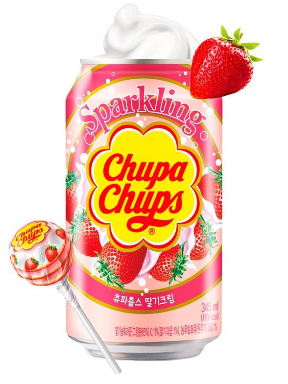 Refresco Coreano Sabor Chupa Chups Nata y Fresas 345 ml.