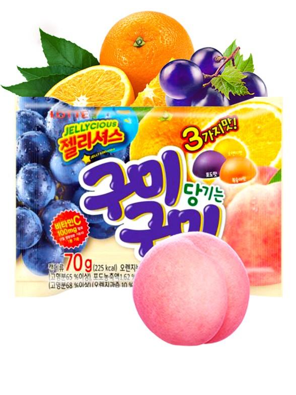 Gominolas Coreanas Lotte Sabor Uva Negra, Naranja y Melocotón 70 grs