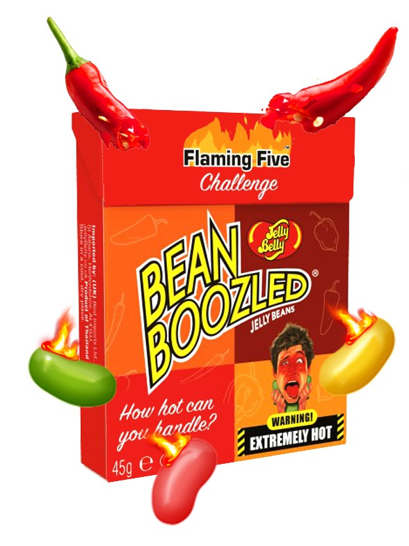 Jelly Belly Flaming Five 5 Niveles de Picante | Edit. BeanBoozled 45 grs.