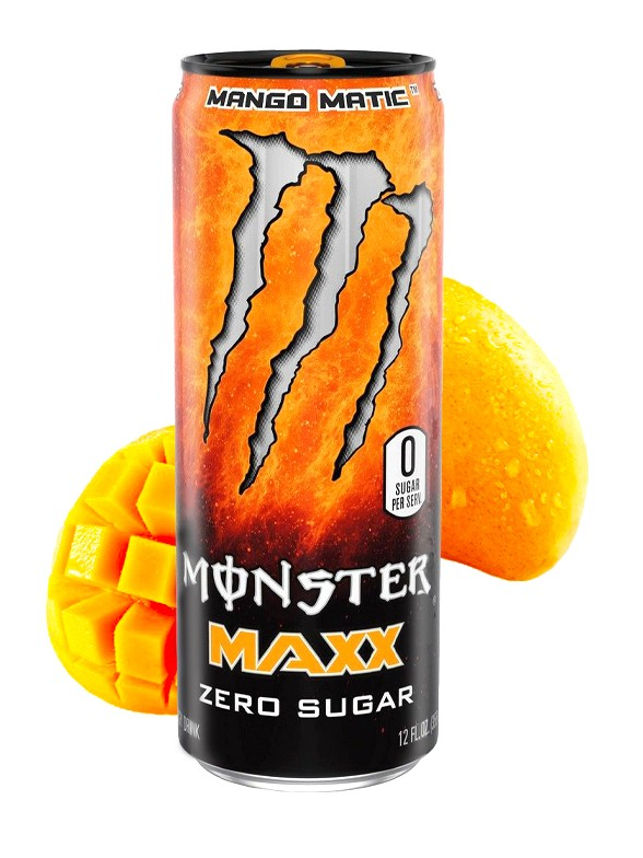 Monster MAXX Mango Matic Más Cafeína   Zero Azúcar   355 ml