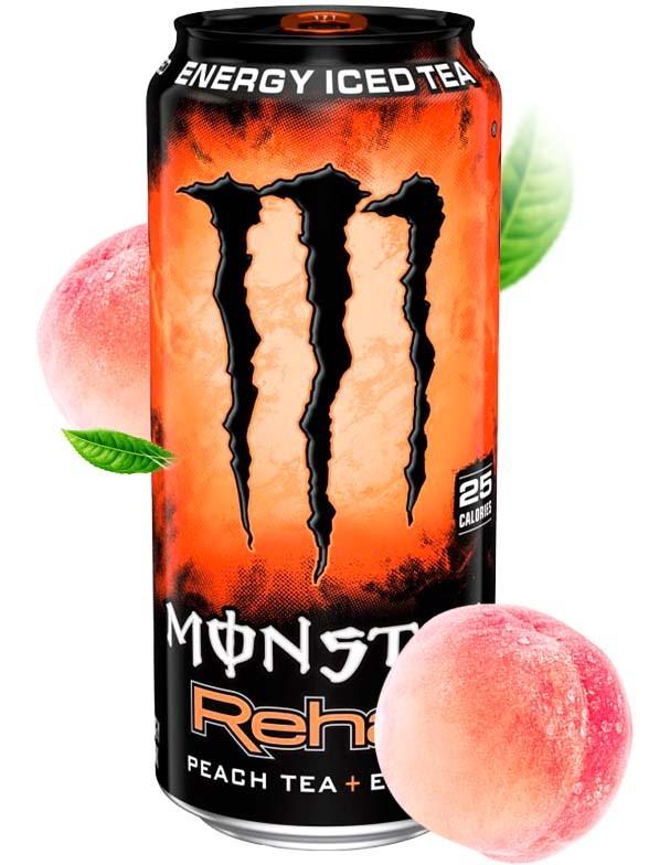 Bebida Energética Monster Rehab Peach Tea   USA 458 ml.