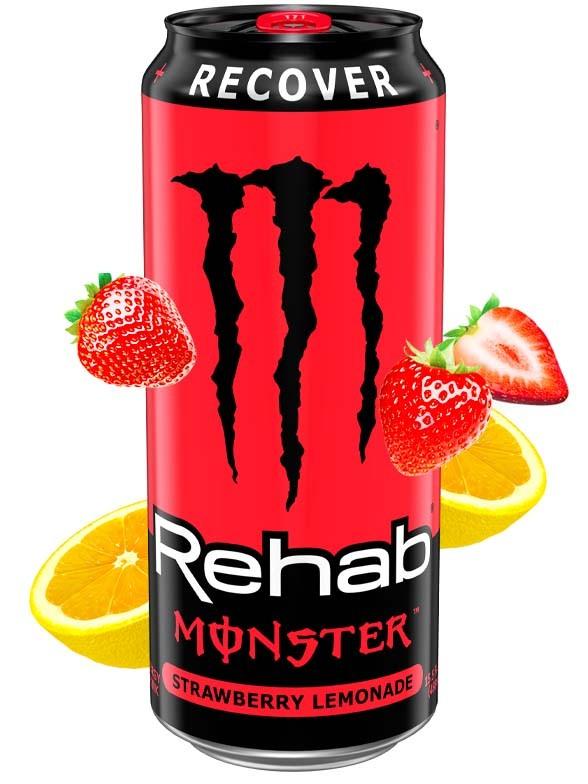 Bebida Energética Monster Rehab Recover Limonada de Fresa   USA 458 ml