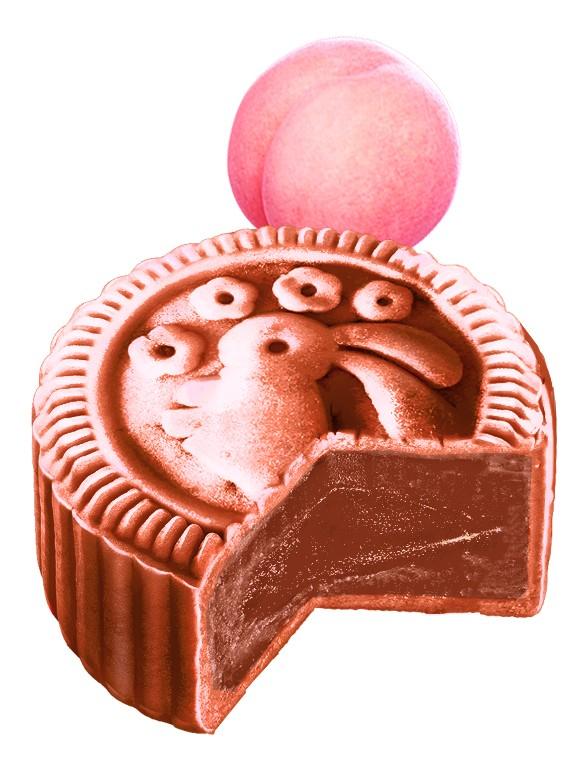 Pastel de Luna Usagi relleno de Crema de Melocotón Momo 80 grs.