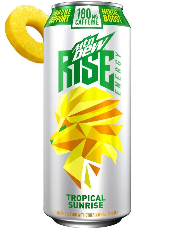Bebida Energética Mountain Dew Rise Energy Tropical Sunrise 473 ml.