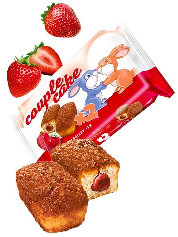 Bizcochitos rellenos de Crema de Fresas   Couple Cakes 60 grs.