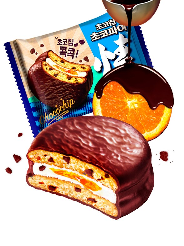 Choco Pie de Crema de Nube con Naranja y Pepitas de Chocolate | Unidad 37 grs.