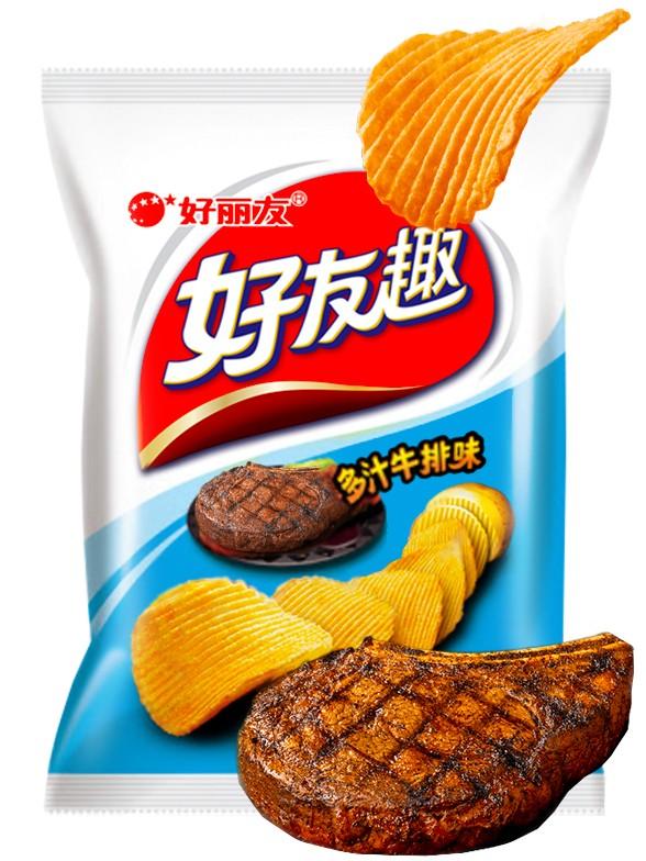 Patatas Chips Onduladas Coreanas Sabor Carne al Grill 45 grs.
