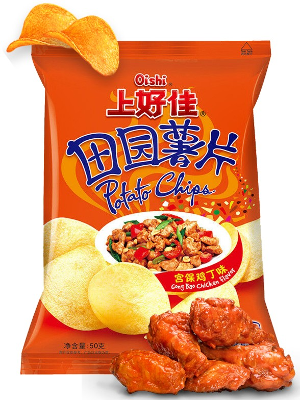 Patatas Chips Pollo Gong Bao con Cacahuetes 50 grs.