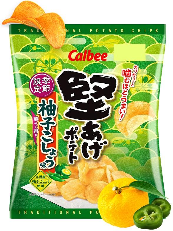 Patatas Calbee Sabor Yuzu y Guindilla Verde | 36 grs.