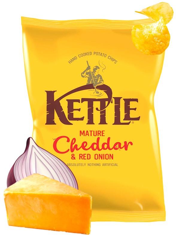 Patatas Kettle con Cheddar Curado y Cebolla Roja 150 grs