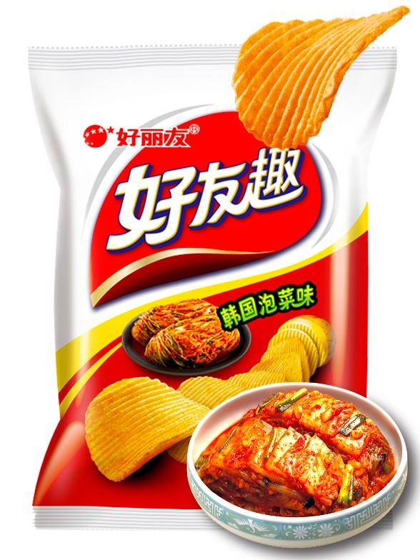 Patatas Fritas Onduladas Coreanas Sabor Kimchi 45 grs