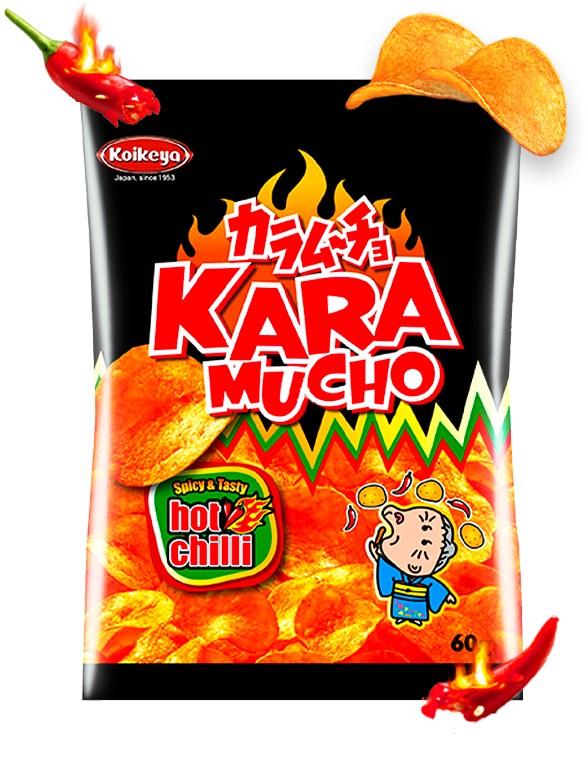 Patatas Koikeya Kara Mucho Ultra Hot Chilli   Nº1 en Japón 60 grs.