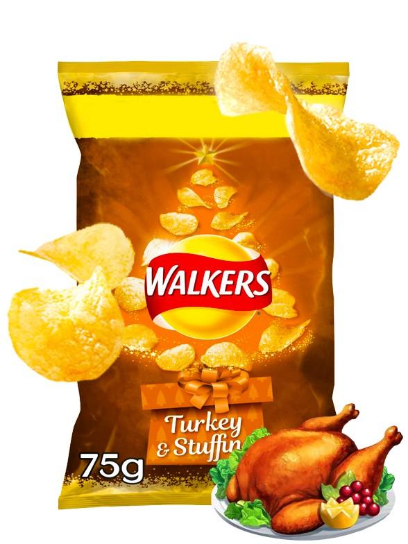Patatas Fritas Walkers Lays Sabor Pavo Relleno | Edición Navideña Big Bag 75 grs