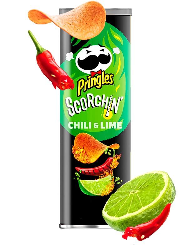 Pringles Scorchin Extra Hot Chili y Lima 158 grs