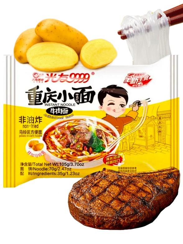Fideos Tallarines Chinos Za Jiang de Patata Sabor Ternera | 105 grs