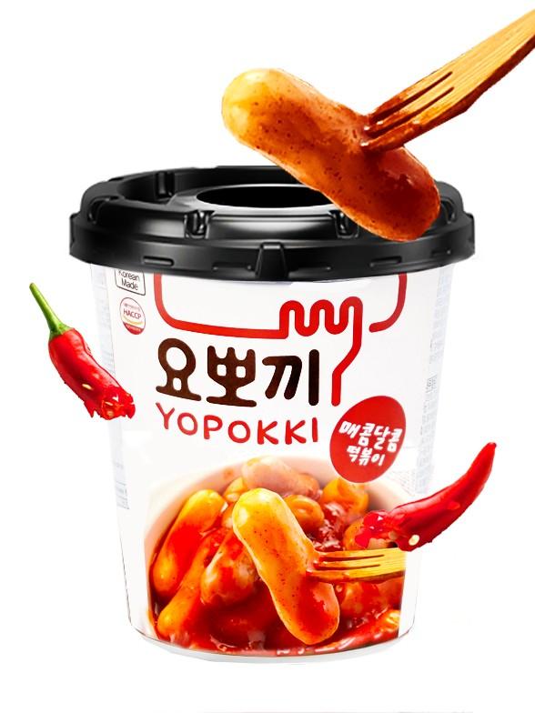 Yopokki | Mochis Coreanos Topokki Instantáneos con Salsa Hot & Spicy 120 grs.
