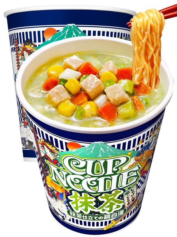 Nissin Cup Noodles de Pollo Y Té Matcha | Edición Limitada 78 grs.