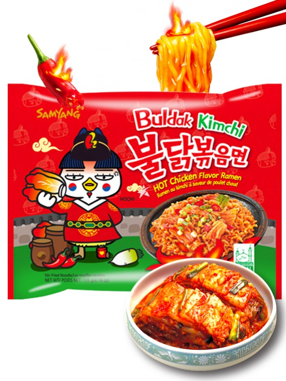 Fideos Ramen Coreanos Salteados con Kimchi Wok Buldak ULTRA SUPER HOT Chicken | Bag 135 grs.