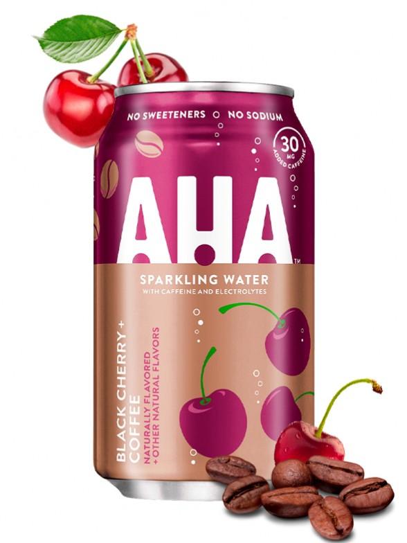 Refresco Sparkling Water AHA de Cereza y Café | Coca-Cola 355 ml.