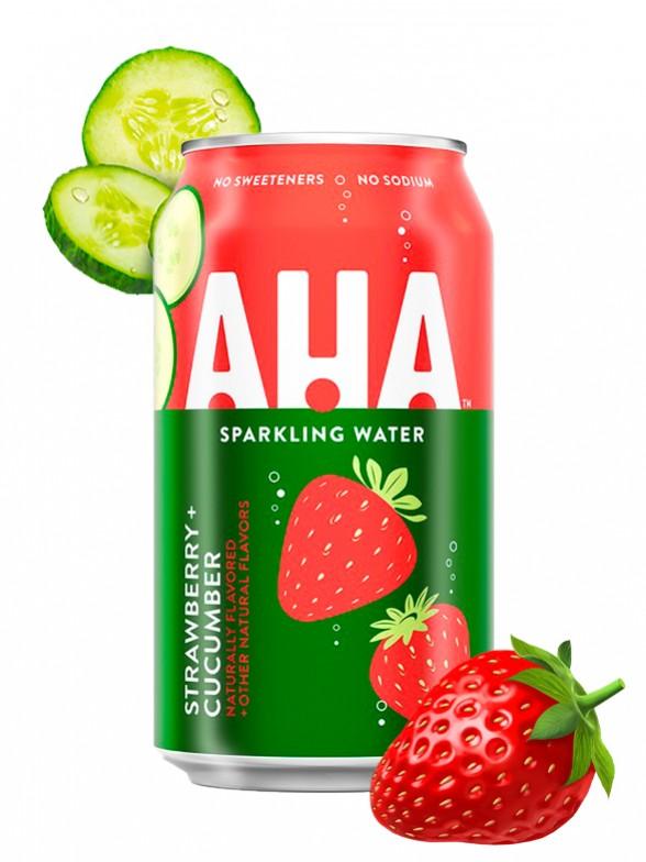 Refresco Sparkling Water AHA de Fresa y Pepino   Coca-Cola 355 ml.   Pedido GRATIS!