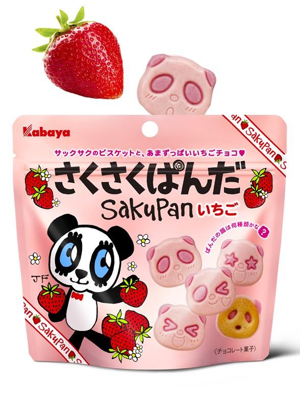 Galletas Saku Panda Doble Blanco Batido con Fresas 47 grs